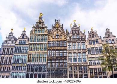 Facades of medieval guild houses on Grote Markt square in the old town of Antwerp, Belgium