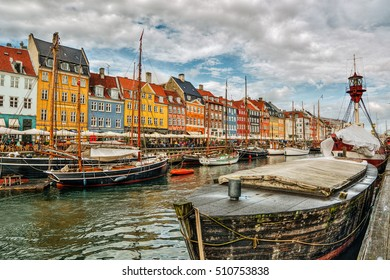 Facades of Nyhavn in Copenhagen (Denmark), HDR-technique