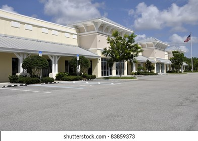 Facades of an office or retail stores in a new strip mall.