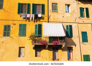 facades of old buildings in Siena, Italy