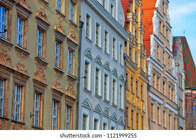 Facades of old houses in Wroclaw