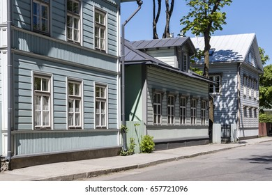 Facades of old wooden houses.