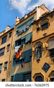 facades of residential buildings in  Jewish quarter Girona, Spain, Catalonia
