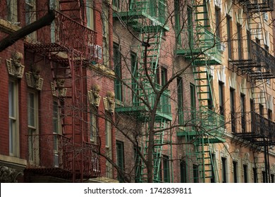 Facades with typical Fires Escape Stairs in New York City