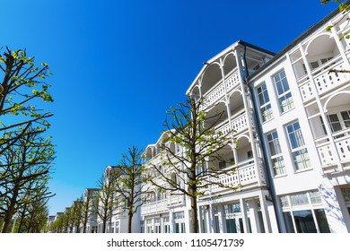 facades of typical resort architecture in Binz, Ruegen, Germany