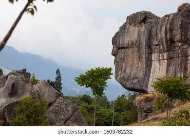 FACATATIVA, COLOMBIA - JANUARY, 2019: Giant rocky formations at the Piedras del Tunjo Archaeological Park in the municipality of Facatativa