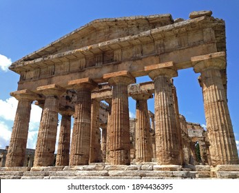 The face of ancient Greek Second Temple of Hera in Paestum Italy