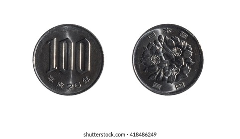 face and back of a one hundred yens coin on white background