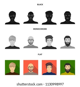 The face of a Bald man with glasses and a beard, a bearded man, the appearance of a guy with a hairdo. Face and appearance set collection icons in black, flat, monochrome style bitmap symbol stock
