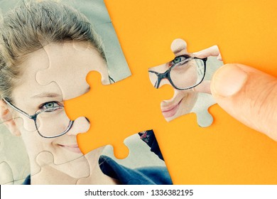 Face of a beautiful business young woman with a puzzle collage - Concept about plastic surgery