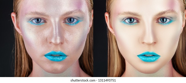 Face of beautiful woman before and after retouch. Fashion makeup. Close-up of a young woman with turquoise makeup