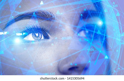 Face of beautiful woman with double exposure of network interface. Concept of artificial intelligence and machine learning. Toned image