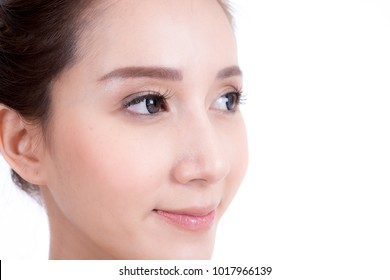 Face of beautiful woman on white background