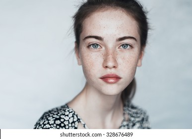 face of a beautiful young girl with a clean fresh face close up - Shutterstock ID 328676489