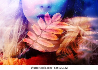 Face of beautiful young girl on autumn background yellow Golden leaves (double exposure)