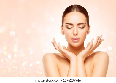 Face Beauty Skin Care, Woman Natural Make Up, Beautiful Model Closed Eyes Advertising Product in Hands