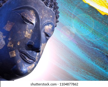 Face of buddha abstract background