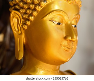 face of buddha statue in thailand public temple