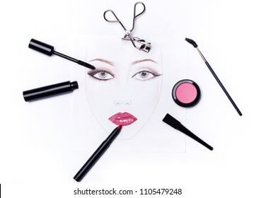 Face chart and different makeup objects and cosmetics on white background