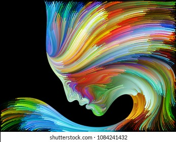 Face of Color series. Design composed of human profile and colorful lines of moving paint as a metaphor on the subject of creativity, design, internal world, human nature and artistic soul