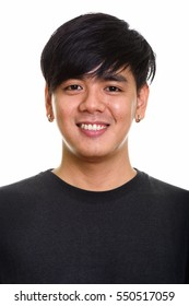 Face of cool happy Asian man smiling isolated against white background