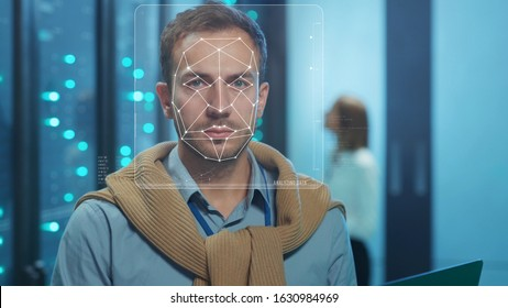 Face Detection. Futuristic Facial Recognition. Face ID. Biometric 3D Data Identification of IT Server Engineer Working at Database Center. Looped Face Animation with Dots and Lines. Augmented Reality