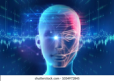 Face detection and recognition of digital human 3d illustration.Concept of Computer vision and artificial intelligence and biometric facial identification.