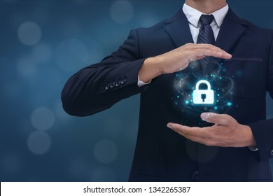 face detection, recognition, identification id unlock concept, business man try to protect the data, and permit to reach the data by face recognition or face identification