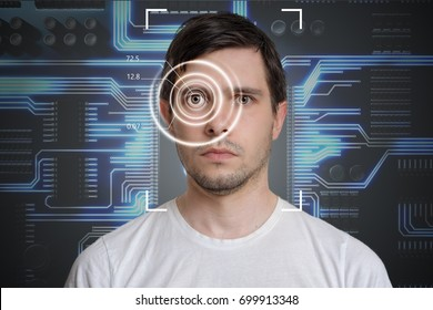 Face detection and recognition of man. Computer vision concept. Electronic circuit in background.
