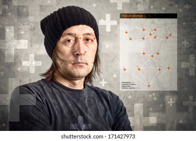 Face detection software recognizing a face of man with black cap