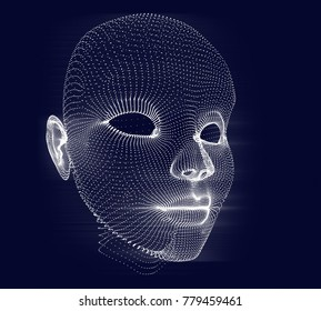 face of dots on drak blue background, 3d render