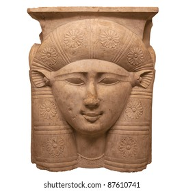Face of the Egyptian goddess Hathor shown with cow ears 3rd cent. BC fragment of the capital of a column (louvre-D 2)
