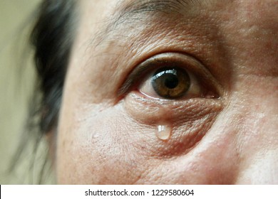 Face and eyes of 40s Asian woman.Her brown eyes filled up with tears.Depression,stress in postmenopausal women or menopause or Middle-aged.Hormonal changes cause her to regret or cry.Selective focus.