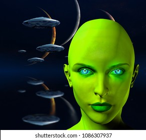 The face of female alien. Three moons and spaceships in blue deep space. 3D rendering