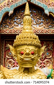 Face of the giant statue Inside the temple of thailand This tells the faith of the Thai people and is a national art.