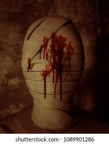 Face of Halloween mummy in haunted house,3d illustration