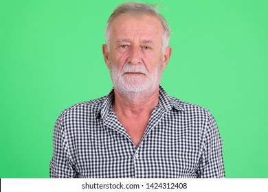 Face of handsome senior bearded man looking at camera
