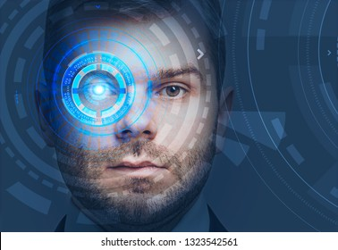 Face of handsome young man with beard with colorful hud interface near his eye. Concept of face recognition and hi tech. Toned image double exposure