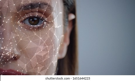 Face ID. Future. Half Face of Young Caucasian Woman for Face Detection. Brown Female Eye Biometrical Iris Scan Reading for Person Identification. Augmented Reality. 3D Technology Concept.