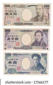 face of the japanese yen. ten thousand yen, five thousand yen, one thousand yen.