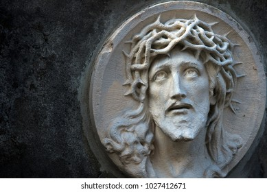 The face of Jesus Christ in a crown of thorns as a symbol of suffering and salvation of mankind. (healing, spiritual development, religious events - the concept)