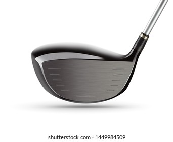 Face of Large Driver Golf Club on White Background.
