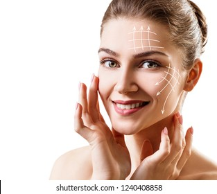 Face lift anti-aging lines on young female face. Graphic lines showing facial lifting effect on skin.