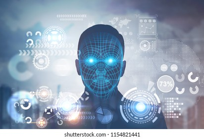 Face of a man with polygons on it. Infographics and HUD in a blurred city sky. Toned image double exposure Elements of this image furnished by NASA
