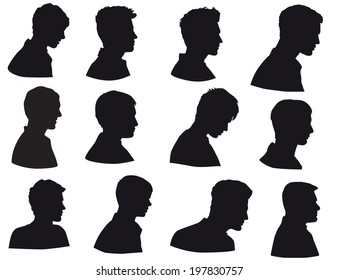 Face of man, silhouette of men head, man face in profile, Isolated on white background