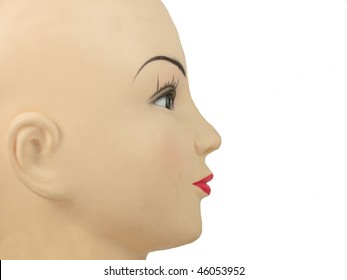 face of mannequin with red lips isolated on white background