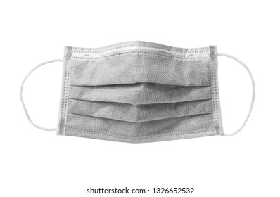 Face mask carbon disposable (with clipping path) isolated on white background
