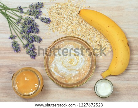 Face Mask Oatmeal Yogurt Banana Honey Stock Photo Edit Now