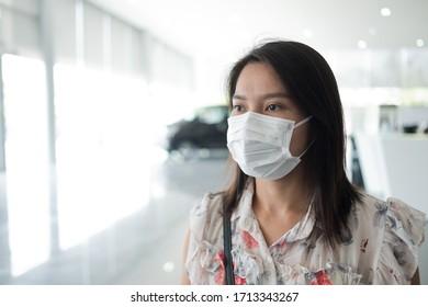 protección de máscara facial, mujer usa máscara de polvo