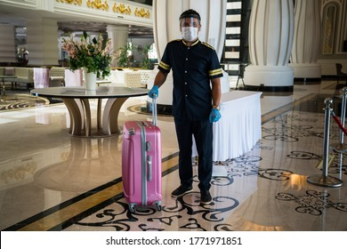 Face mask protection against pollution, virus covid-19, flu and (coronavirüs, pandemic). Medical mask isolated for hotel bellboy
